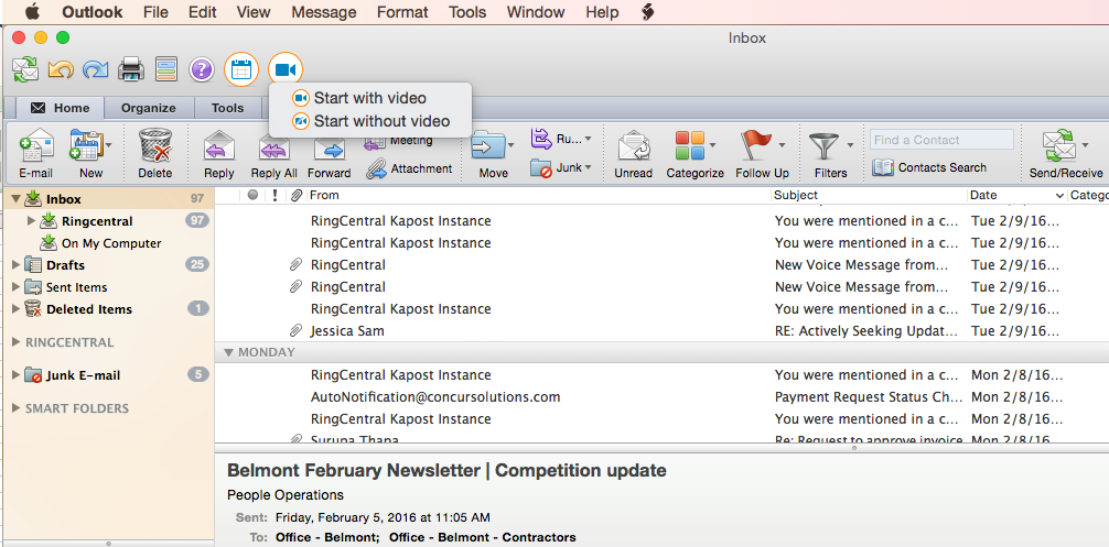 Microsoft Outlook® on Mac Plugin for RingCentral Meetings