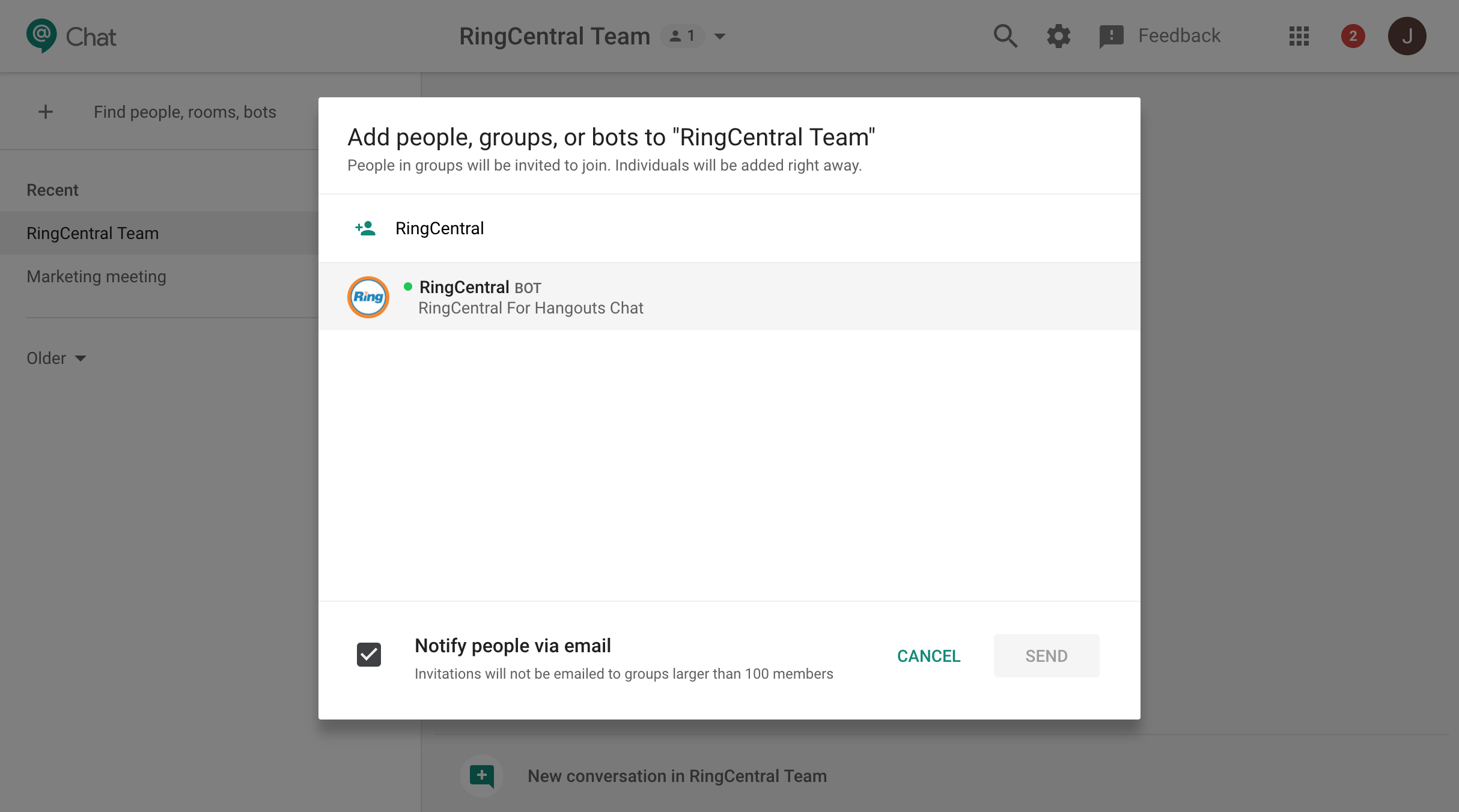 Google Hangouts Chat App Integration for RingCentral