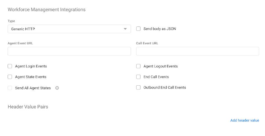 Workforce Management Integraiton Page